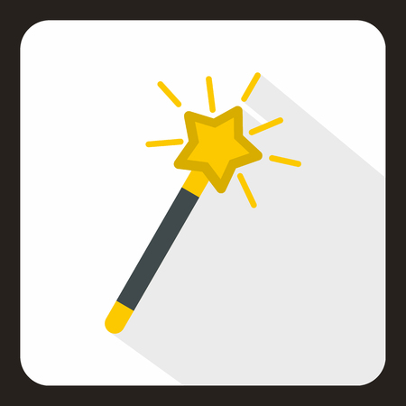 Magic wand icon in flat style with long shadow. Tricks symbol vector illustration