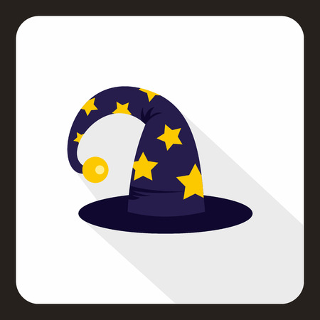 sombrero de mago: Wizard hat icon in flat style with long shadow. Tricks symbol vector illustration Vectores