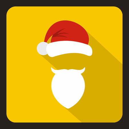 Red hat with pompom and beard with a mustache of Santa Claus icon in flat style with long shadow. New year symbol vector illustration Illustration