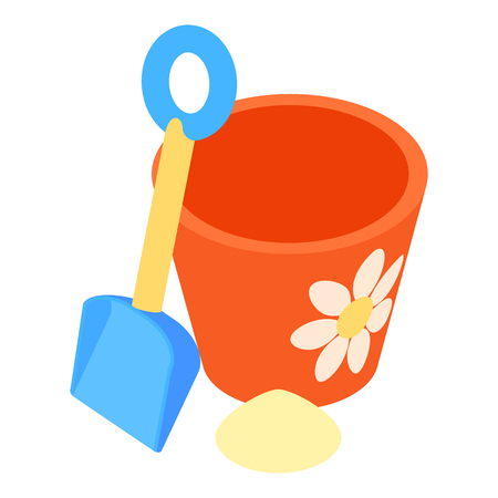 pail: Bucket and pail shovel icon in cartoon style isolated on white background vector illustration Illustration