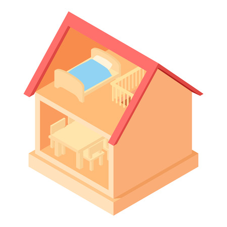 toy house: Toy house interior icon in cartoon style isolated on white background vector illustration