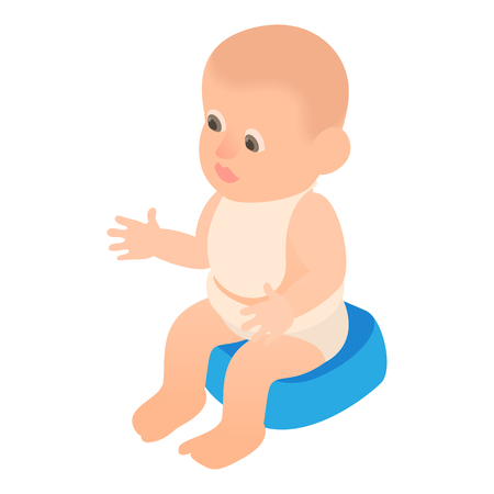Boy sitting on the potty icon in cartoon style isolated on white background vector illustration Illustration