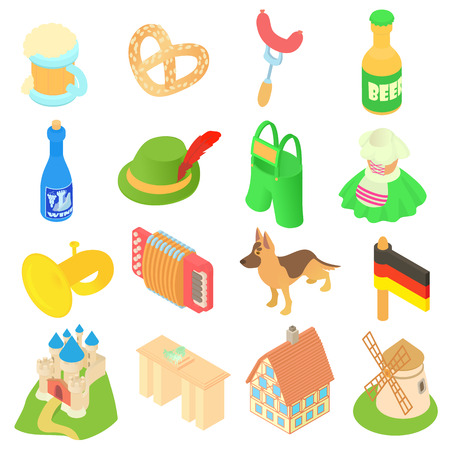 Germany icons set in isometric 3d style. Germany fest elements and attractions set collection vector illustration