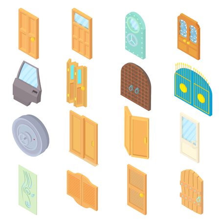 portone: Door icons set in isometric 3d style. Doors to houses and buildings set collection vector illustration icons set in style. Vettoriali