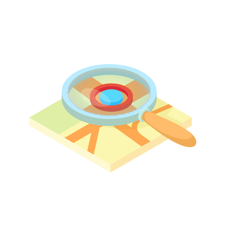 Search through a magnifying glass on map icon in cartoon style isolated on white background. Navigation symbol vector illustration Illustration