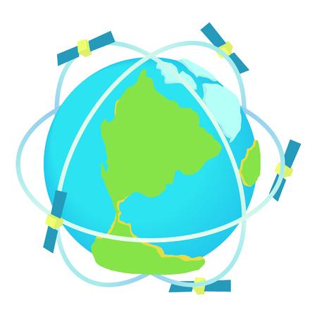 通信: 漫画のスタイルの白い背景で隔離の世界アイコン周辺衛星通信。技術記号ベクトル図