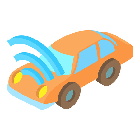 Car with Wi Fi icon in cartoon style isolated on white background. Technology symbol vector illustration Illustration