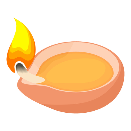 scented candle: Scented candle icon in cartoon style isolated on white background. Light symbol vector illustration