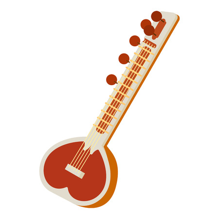 Sitar icon in cartoon style isolated on white background. Musical instrument symbol vector illustration
