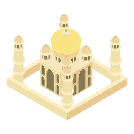 Taj Mahal icon in cartoon style isolated on white background. Landmark symbol vector illustration