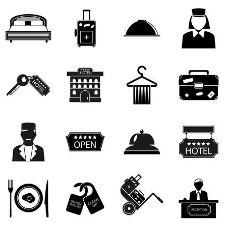 Hotel icons set in simple style. Hotel accommodation services set collection vector illustration