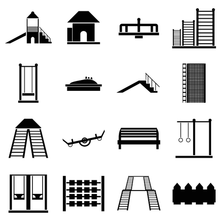 ladder  fence: Children playground icons set in simple style. Kids playground elements set collection vector illustration