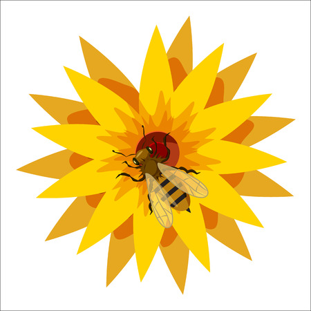 fragrant bouquet: Bee on flower icon in cartoon style isolated on white background. Insects symbol vector illustration