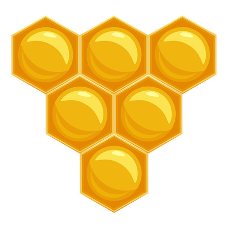 honeyed: Honeycomb icon in cartoon style isolated on white background. Product symbol vector illustration Illustration