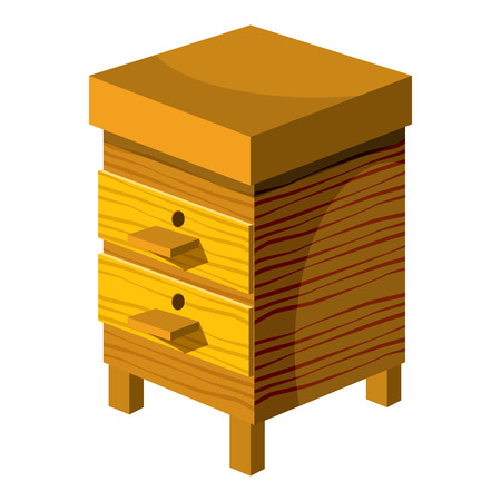 bee house: Beehive icon in cartoon style isolated on white background. Bee house symbol vector illustration