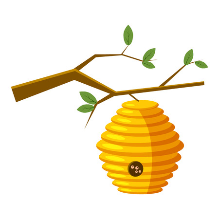 bee house: Beehive on tree icon in cartoon style isolated on white background. Bee house symbol vector illustration Illustration