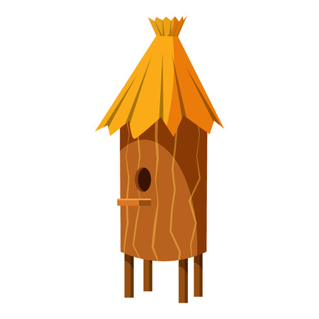 bee house: Wooden beehive icon in cartoon style isolated on white background. Bee house symbol vector illustration