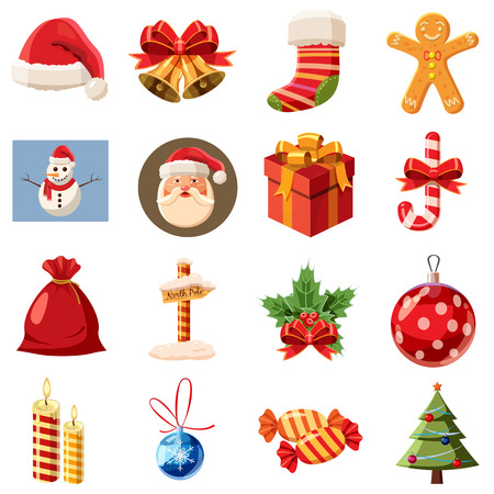 omela: Christmas icons set in isometric 3d style. Holiday elements set collection vector illustration
