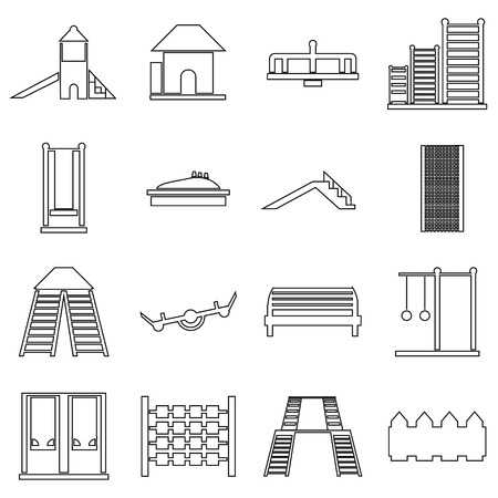 ladder  fence: Children playground icons set in outline style. Outdoor playground elements set collection vector illustration