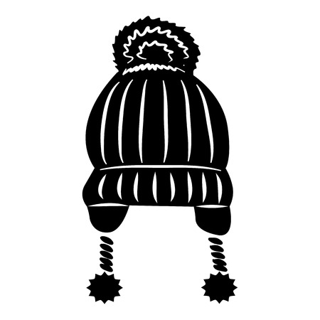 ski wear: Hat with pompom icon in simple style on a white background vector illustration