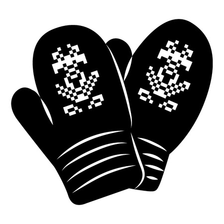 mitten: Pair of mitten icon in simple style on a white background vector illustration Illustration
