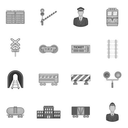railroad crossing: Railway icons set in black monochrome style. Rail transportation set collection vector illustration Illustration
