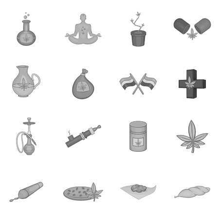 Medical marijuana icons set in black monochrome style. Cannabis theme set collection vector illustration
