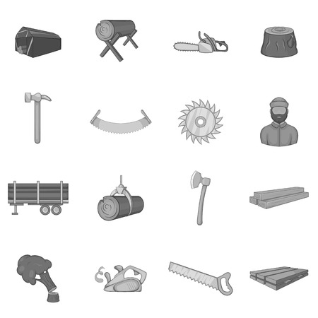 Timber industry icons set in black monochrome style. Lumberjack equipment set collection vector illustration Vetores
