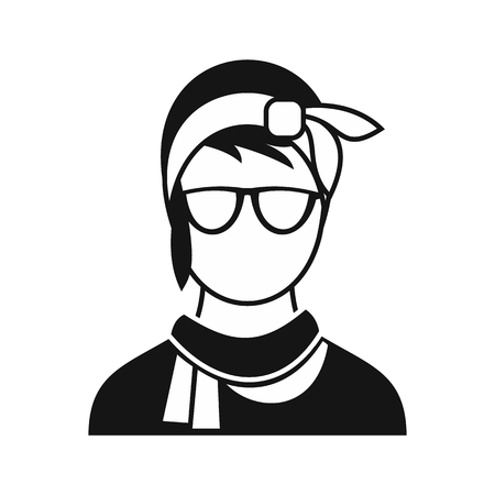 girl glasses: Hipster woman icon in simple style on a white background vector illustration