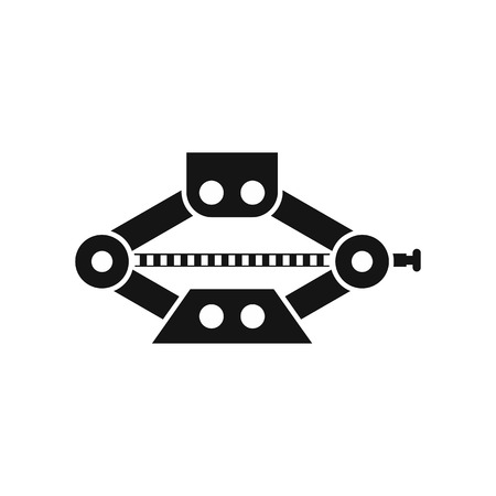 Red scissor car jack icon in simple style on a white background vector illustration