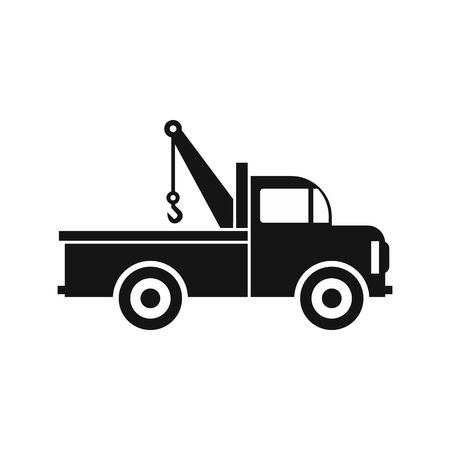evacuating: Car towing truck icon in flat style icon in simple style on a white background vector illustration Illustration