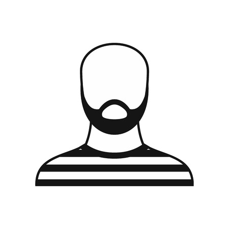 jailbird: Bearded man in prison garb icon in simple style on a white background vector illustration Illustration