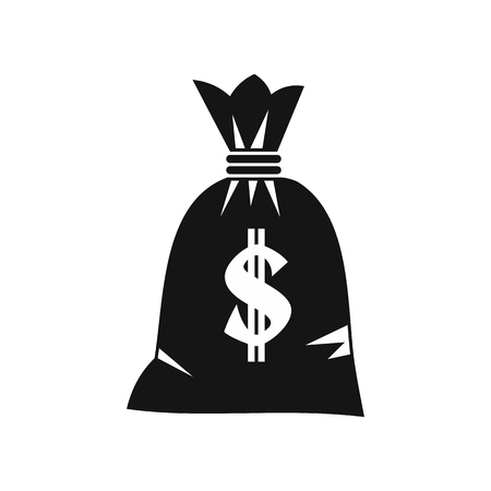 Money bag icon in simple style on a white background vector illustration