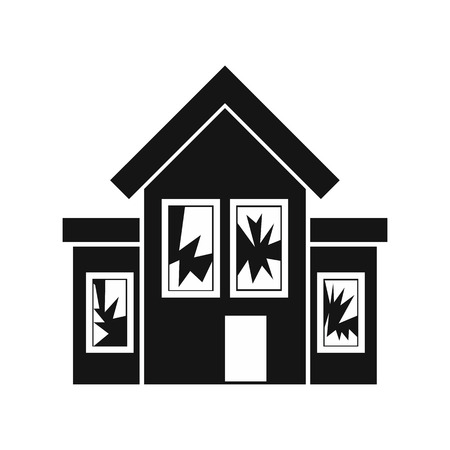 broken house: House with broken windows icon in simple style on a white background vector illustration Illustration