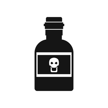 poison bottle: Poison bottle icon in simple style on a white background vector illustration Vectores