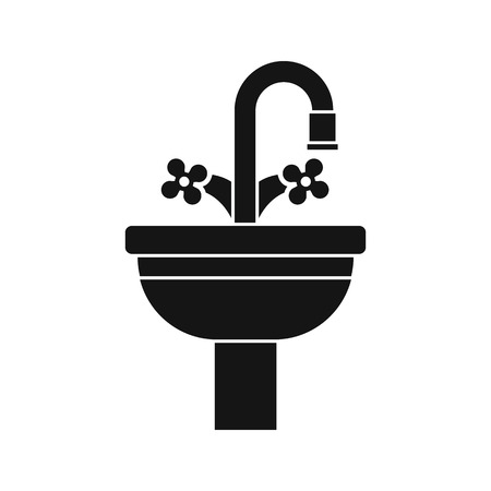water basin: Ceramic sink icon in simple style on a white background vector illustration