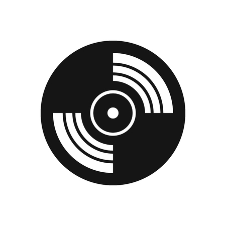 lp: Gramophone vinyl LP record icon in simple style on a white background vector illustration Illustration