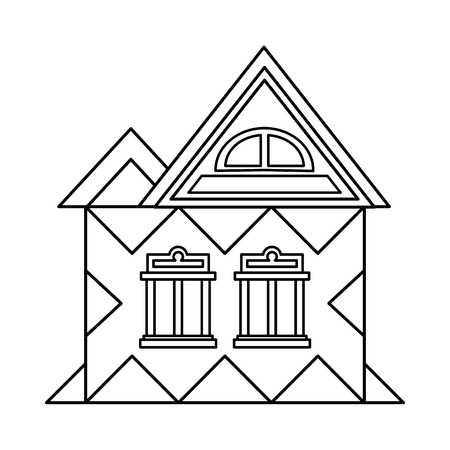 attic: House with attic icon in outline style isolated on white background. Building symbol