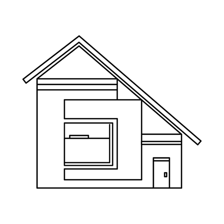 sloping: House with sloping roof icon in outline style isolated on white background. Building symbol