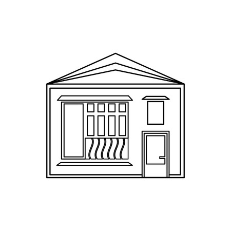 sloping: One storey house with sloping roof icon in outline style isolated on white background. Building symbol Illustration