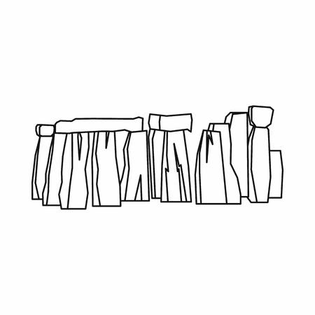 english countryside: Stonehenge icon in outline style isolated on white background. Landmark symbol