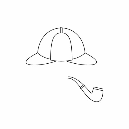 headgear: Hat and pipe icon in outline style isolated on white background. Headgear symbol