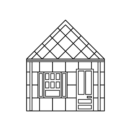 storey: One storey house with one window icon in outline style isolated on white background. Building symbol