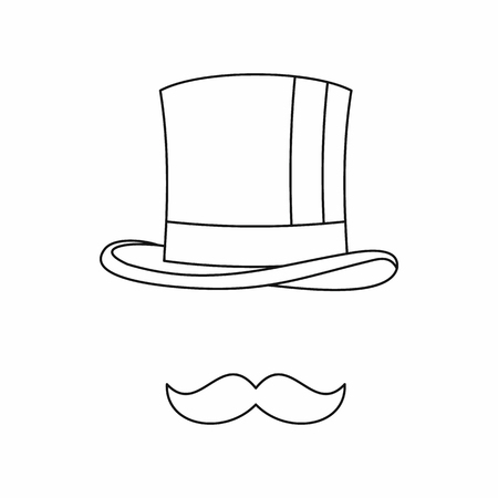 headgear: Cylinder and moustaches icon in outline style isolated on white background. Headgear symbol Illustration