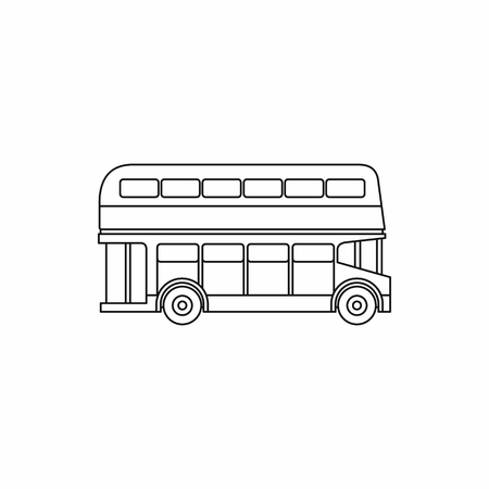 double decker bus: Double decker bus icon in outline style isolated on white background. Transport symbol