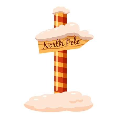 north pole sign: North Pole sign icon in cartoon style isolated on white background vector illustration