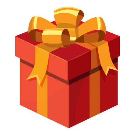 Gift box with ribbon and bow icon in cartoon style isolated on white background vector illustration