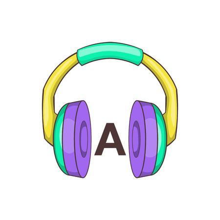 language learning: Headphones for language learning icon in cartoon style isolated on white background vector illustration Illustration
