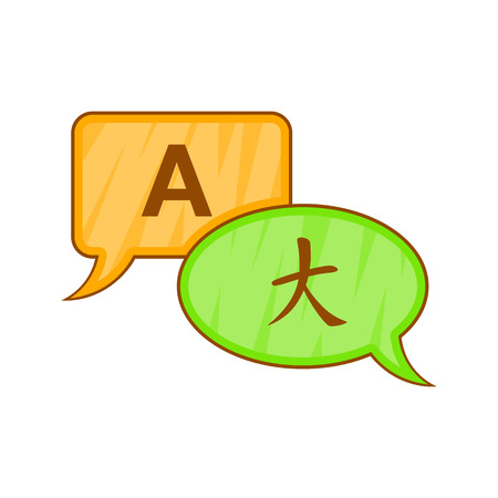 talking dictionary: Bubble speech translation icon in cartoon style isolated on white background vector illustration