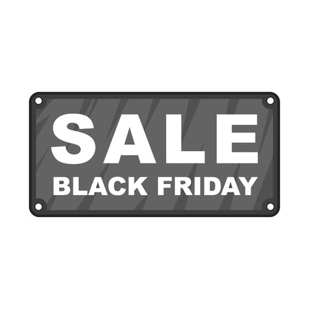 best ad: Black Friday plate icon in cartoon style isolated on white background vector illustration